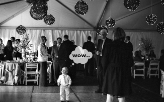 wow kid at wedding